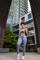 Bezateli Lumini High Waist Sports Leggings and Bra Set-Periwinkle Blue