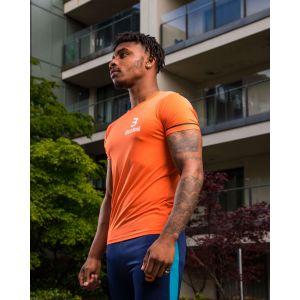 Bezateli Ice Crew Neck Short Sleeve Sports T-shirt-Orange